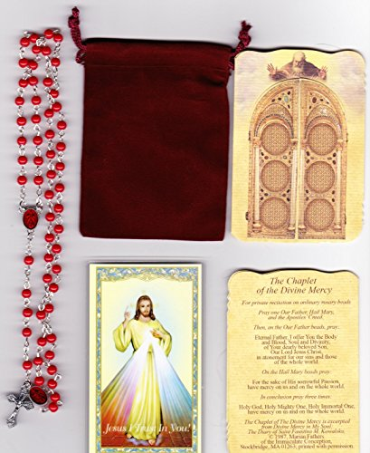 (Divine Mercy Red Rosary with Dangle, Holy Card, Shrine Pamphlet and Velour Bag)