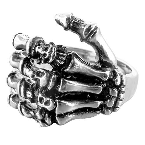 INBLUE Men's Stainless Steel Ring Band Silver Tone Black Skull Hand Bone Size10 by INBLUE (Image #4)