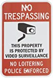 "SmartSign 3M Engineer Grade Reflective Sign, Legend ""No Trespassing No Loitering Police Enforced"" with Graphic, 18"" high x 12"" wide, Black/Red on White"