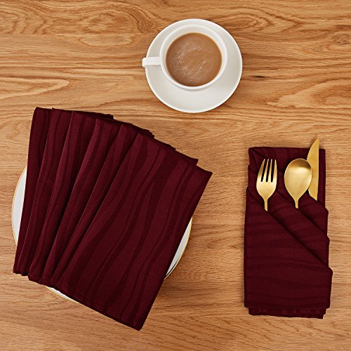Deconovo Soft Jacquard Damask Dinner Cloth Napkins Vibrant Waves 18 x 18 inch Stain and Spillproof Smooth Luxury Serviette for Banquets, Weddings, Family Gatherings Set of 6 ()