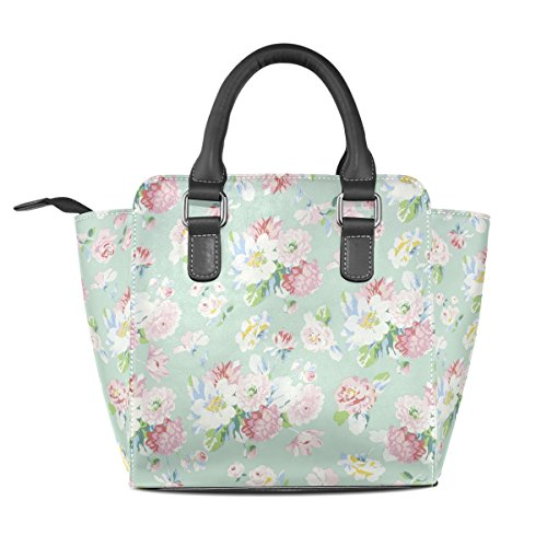 Of Leather Flowers Shoulder Women's TIZORAX Field Handbags Bags Tote nPqHR7x