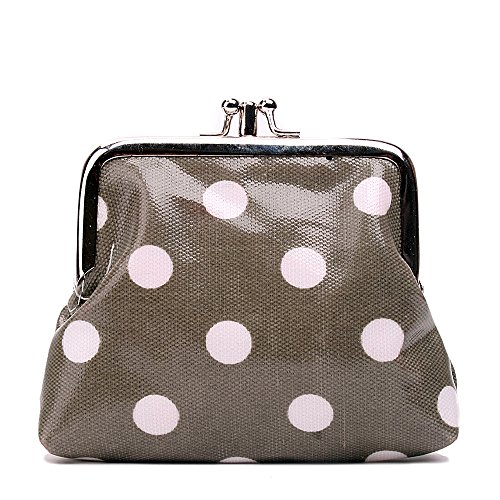 Miss Lulu Designer Oil Cloth Clasp Coin Purse (Polka Grey) from Miss Lulu