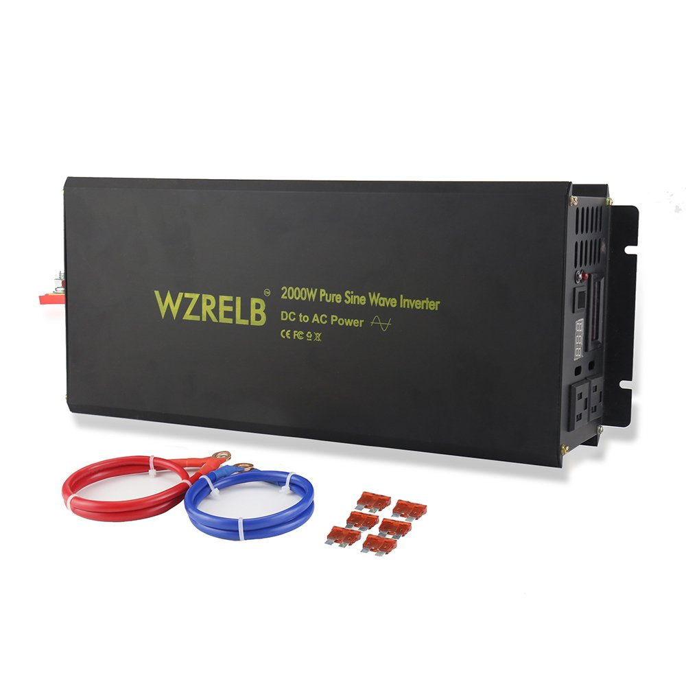 WZRELB 2000W Pure Sine Wave Solar Power Inverter Generator 24V DC to 120V AC Converter Car Inverter