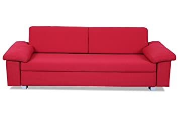 Sofa Couch Home24 3er Sofa Plaza Mit Schlaffunktion Rot Amazon