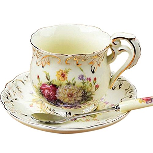 China Old Country Roses Boxed - Lautechco China Tea Cups and Saucers Sets Vintage Royal Tea Cups and Saucers Sets 200Ml/6.7Fl.Oz(Yellow)