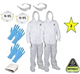 MP-400 ( XL)(Two) CORDOVA DEFENDER II White Disposable Suits Microporous paint Coveralls with Hood and Boots + 2 N-95 Masks + 2 Safety Glasses + 4 Gloves size L