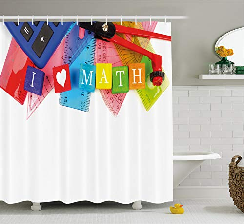 Ambesonne Mathematics Classroom Decor Shower Curtain by, I Love Math Theme Objects Heart Icon Calculator Compass Ruler, Fabric Bathroom Decor Set with Hooks, 70 Inches, Multicolor]()