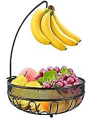 Fruitmand fruitmand met bananenhaak, eigentijdse fruitschaal met houder voor bananen van metaaldraad