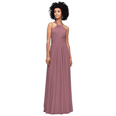 1149573f7da David s Bridal High-Neck Mesh Bridesmaid Dress with Full Skirt Style  F19931