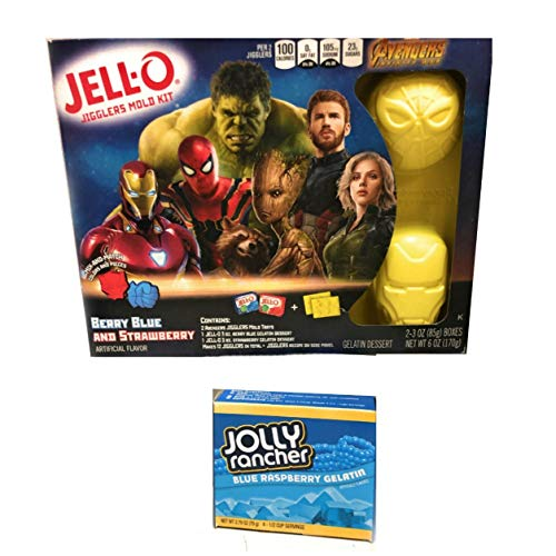 Strawberry Jello Mold - Jello Avenger Molds Fun Play Bundle - Jello Play Set | 1 Jolly Rancher Blue Raspberry Jello