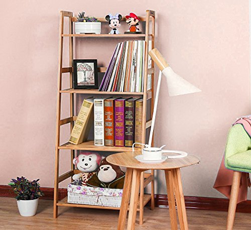 GT Etagere Bookcase Tall Ladder Shelf Furniture 4-Shelf Narrow Kids End Bookcase Modern Open Office Unfinished Storage Corner Vertical Contemporary Light Media Unit & Ebook by Alltime3Shopping.