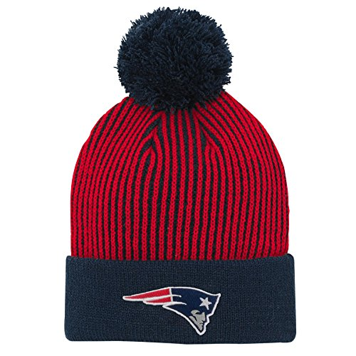 Outerstuff NFL New England Patriots Youth Boys Hidden Rib Cuffed Knit Hat with Pom Dark Navy, Youth One Size