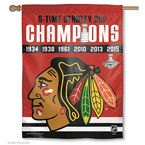 Chicago Blackhawks 6 Time Champions Banner and Banner ()