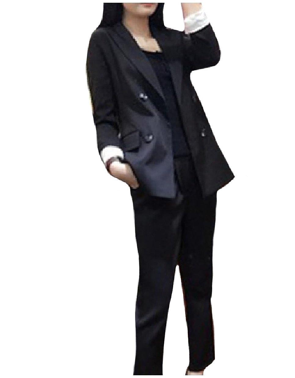 Howme Women Oversize Tenths Pants Pure Color Blazer 2-Piece Suits Set