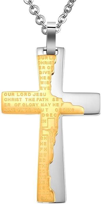 Anazoz Acero Inoxidable Collar Cruz Oración Crucifijo 3.3*5.3Cm Con Cadena Al Azar Oro Hombres: Anazoz: Amazon.es: Joyería