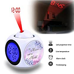 Projection Alarm Clock Wake Up Bedroom with Data and Temperature Display Talking Function, LED Wall/Ceiling Projection,Customize the pattern-550.Purple Soft Pink Text Lilac Quote Calligraphy