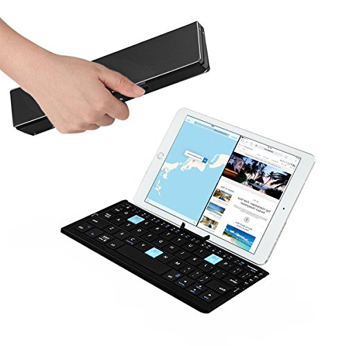 Wireless Keyboard, Hizek Aluminum Alloy Foldable Metal Collapsible Keypad 3 Connection Wireless Phone Holder for iPhone 7/6/6S/ipad4, Samsung GalaxyS5/S7, Windows System