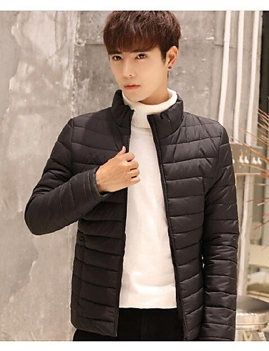 Solid Long Padded Men's Black Regular DGVFGBD Sleeves Coat Cotton Casual Daily Acrylic Simple 6w1xqS0
