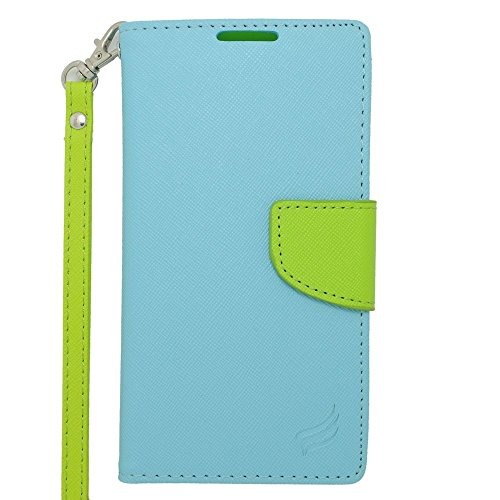 Motorola Droid Turbo Case, Insten Stand Folio Flip Leather [Card Slot] Wallet Flap Pouch Case Cover for Motorola Droid Turbo, Light Blue/Green