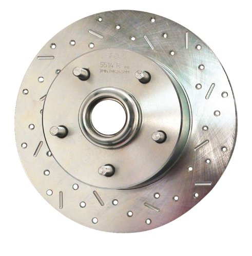 (SSBC 23005AA3R Drilled Slotted Plated Front Passenger Side Rotor for 1969-72 GM A-Body and F-Body)