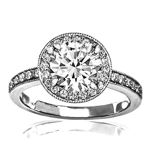 1.1 Carat t.w. GIA Certified Round-Brilliant Cut Platinum Halo Style Vintage Diamond Engagement Ring With Milgrain (G-H Color SI1-SI2 Clarity Center (Certified Round Brilliant Cut)