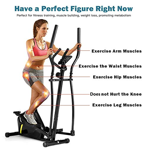 Goplus Portable Elliptical Machine, Magnetic Trainer with Digital Monitor Display & Pulse Rate Grips Elliptical Training Machine (Black)