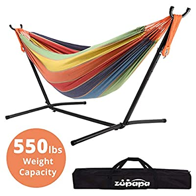 Zupapa Double Hammock with Stand, Accommodates 2 People, 550 Pound Capacity Portable Perfect for Garden, Deck, Yard - Carrying Case Included