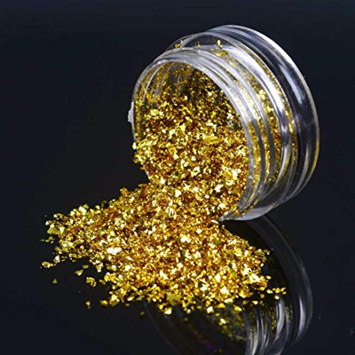 Ecurson Glitter Aluminum Flakes Magic Mirror Effect Powders Sequins Holographic Nail Glitter Gold Silver Slices (Gold)