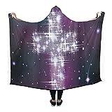 ADEDIY Custom Hooded Blanket Galaxy Starry Sky Holy Cross Wearable Blanket 80x56 Inch Comfortable Hooded Throw Wrap