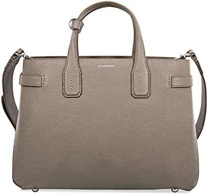 41b0a7199877 Burberry Women s Taupe Leather Banner Check Derby Tote Bag Handbag