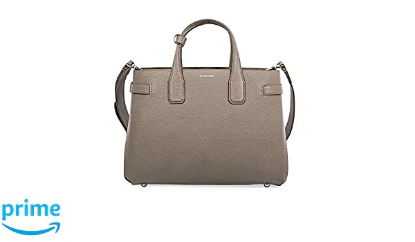 40dd7f8e77a7 Amazon.com  Burberry Women s Taupe Leather Banner Check Derby Tote Bag  Handbag  Shoes