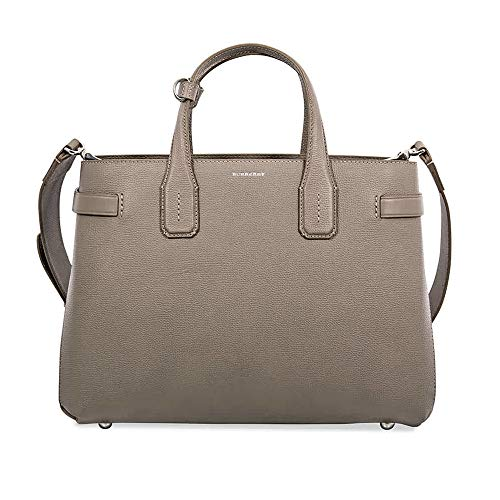Burberry Medium Banner in Leather and Vintage Check- Taupe Brown ()