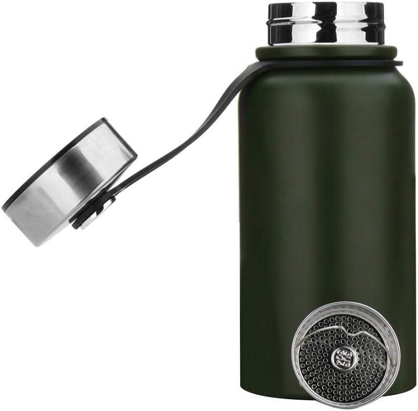 Botella de agua de acero inoxidable de 1,5 l, botella de agua deportiva sin fugas, botella de agua para correr, gimnasio, ciclismo, múltiples especificaciones, color verde, tamaño 1.5L