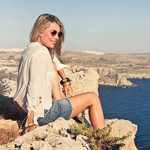 Polarized Sunglasses for Men Women Vintage Round Metal Sun Glasses 100% UV400 Protection ()