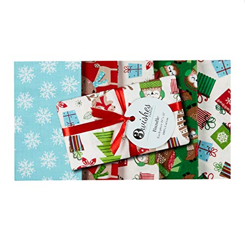 Christmas Fat Quarter Bundle - 3 Wishes Fabric Merry Forest Christmas Fat Quarter Bundle 5 Piece Fabric, Multicolor