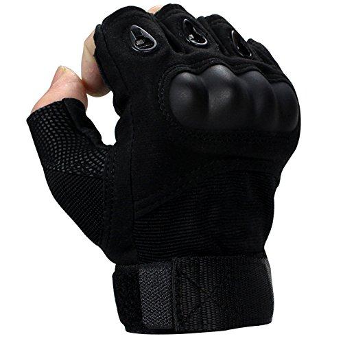 Alinshi Tactical Gloves Military Half Finger Gloves (Black, M)