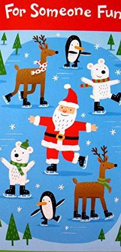 Braille Embossed Christmas Gift Card or Money Holder Card - Ice Skating Santa
