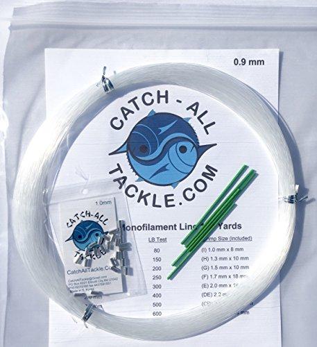 (Monofilament Fishing Leader Kit 100yds 0.9mm-80lb Clear-Loop protectors crimps)
