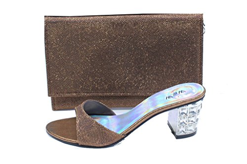W&W Women Ladies Evening Comfort Slip-On Diamante Sandal Party Block Heel (SAN2244) Brown YF1iIAcd