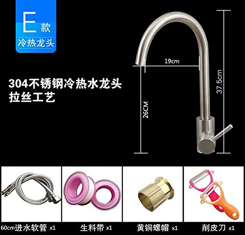 Dhpz Kitchen Faucet Copper Sink 304 Stainless Steel Sink Hot And Cold Sink, E