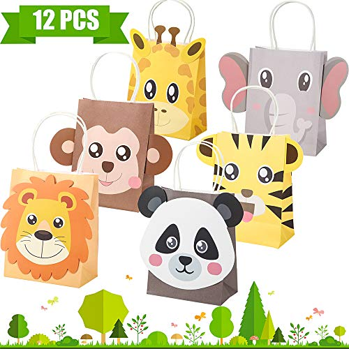 Jungle Safari Party Favor Bags Zoo Animals Birthday Treat Goody Bags for Jungle Themed Birthday Decorations Baby Shower Supplies (Best Bag For Safari)