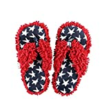 America Stars and Stripes Spa Flip Flop Fuzzy Slippers by LazyOne | Cute Design Fuzzy Thong Slippers (L/XL)