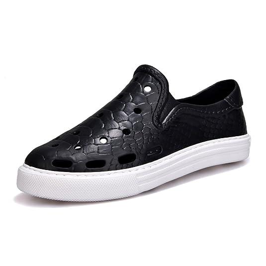 Chaussures Printemps Nouveau Anti-Dérapant Pieds Sandales Grande Taille Chaussures Amoureux Plage Chaussures Trou Chaussures Kaki Noir Bleu (Color : Black, Taille : 44)