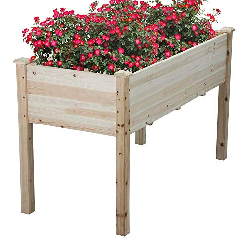 Cyanhope Wooden Raised Garden Bed Kit Cedar Elevated Garden Planter Box with Legs for Vegetables/Flower/Herb/Fruits
