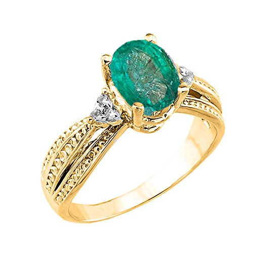 Modern Contemporary Rings Fancy 14k Yellow Gold Diamond Band Oval Emerald Engagement Ring (Size 8.25)
