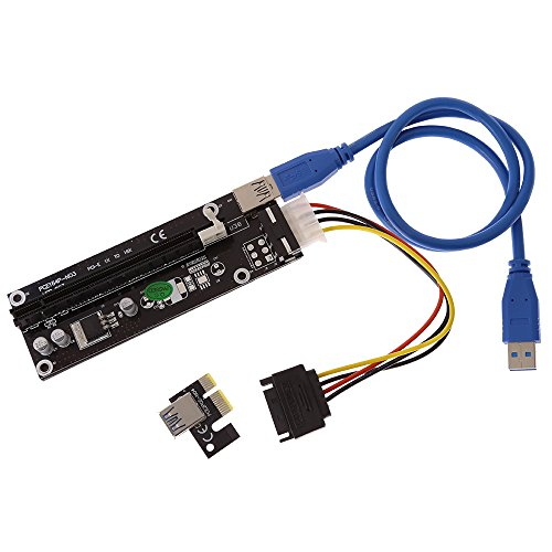 Anxingo 6PCS PCI-E 1x to 16x GPU Riser Adapter with USB 3.0 Riser Cable Flexible Extension Cable and 4-Pin PCI-E to SATA Power Cable, Powered Riser Adapter Card by Anxingo (Image #2)