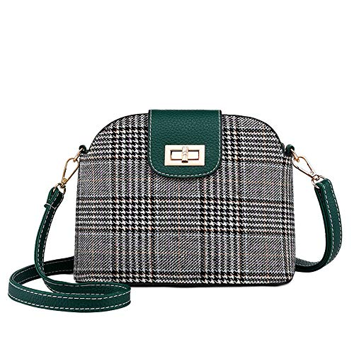 Mn&Sue Elegant Women's Plaid Tweed Fabric Shoulder Handbag Satchel Shell Shape Lady Purse Evening Bag (Style A Green)
