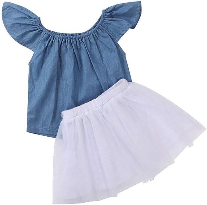 JHDghd - Conjunto de Vestido para niña (2 Piezas, Manga Corta ...