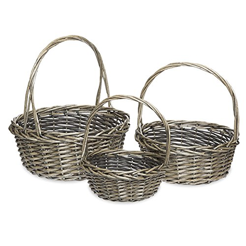 The Lucky Clover Trading Antique Round Willow Handle Baskets, Grey, Set of 3