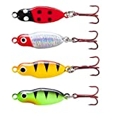 A-SZCXTOP Ice Fishing Spoon Lures 4pcs Baits Glow in Dark Fishing Kit Jig Tackle Bass Pike Trout Walleye